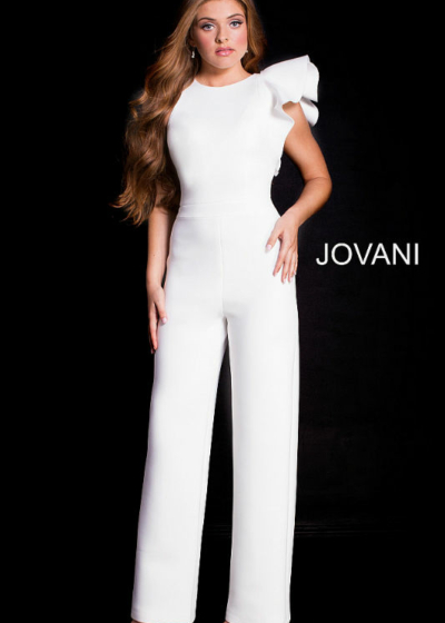 Jovani White Pant Suit ruffled one shoulder