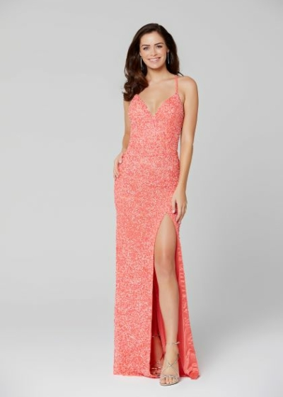 Primavera prom dress in coral style 3291