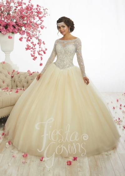 Quinceanera Gown House of Wu style 56347 long sleeves