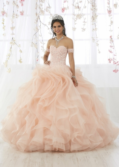 Quinceanera Gown in blush House of Wu style 56372