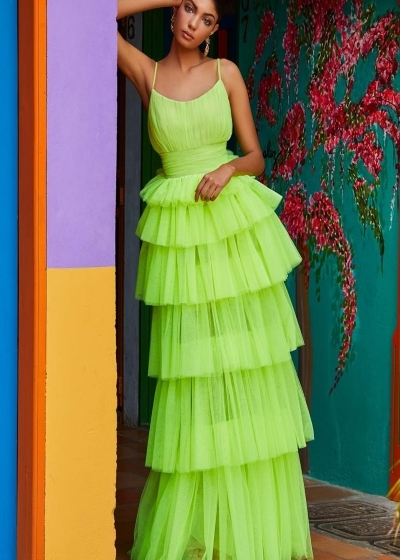 Ashley Lauren 1744 lime green gown