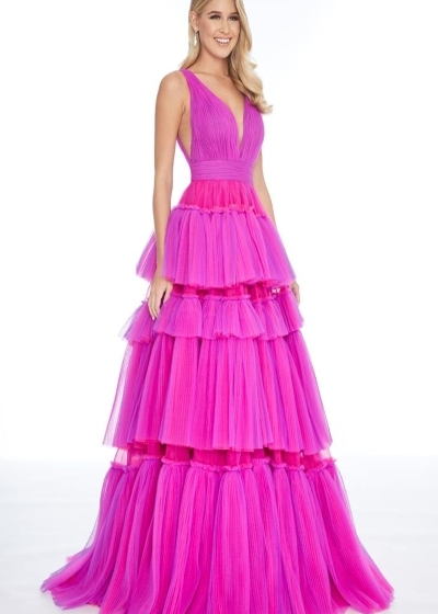 Ashley Lauren 1749 pink purple gown