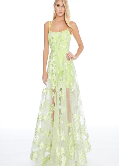 Ashley Lauren 1760 lime gown