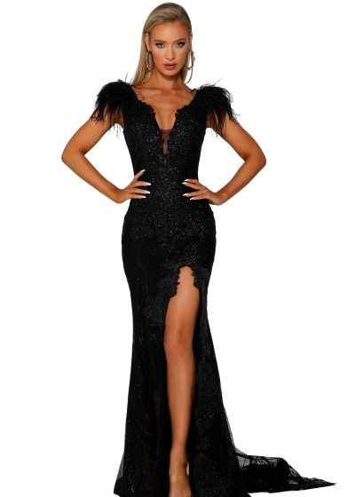 Portia and Scarlett Gown beaded in black