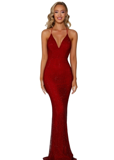 Portia and Scarlett Gown in deep red style PS6324