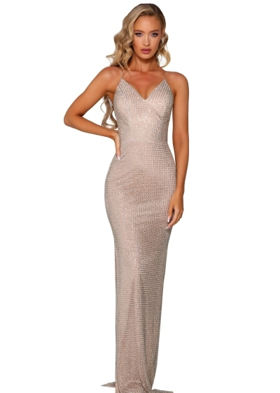 Portia and Scarlett Gown in silver nude style PS6326