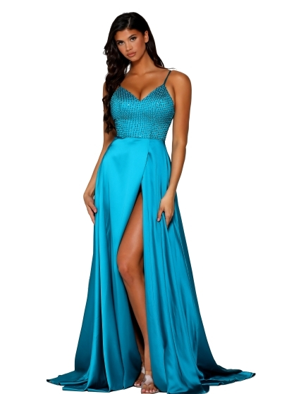 Portia and Scarlett Gown in teal style PS6338