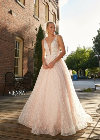 Vienna Gown in blush with a v neckline