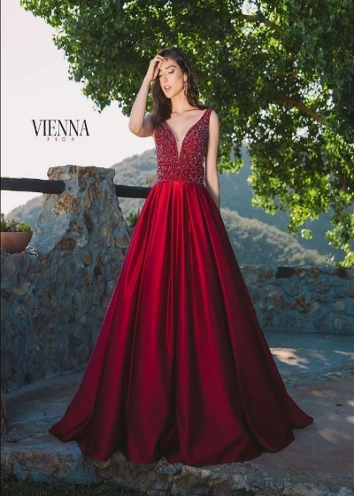 Vienna Gown in burgundy with beaded bodice