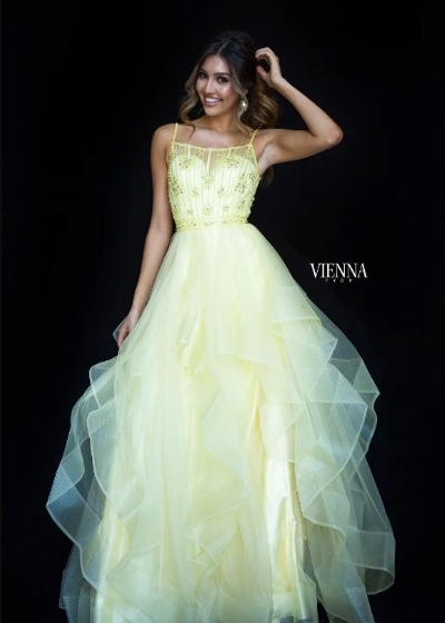 Vienna Gown in yellow with beaded bodice
