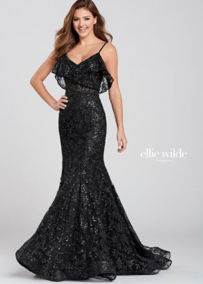 Ellie Wilde EW120082 black lace gown