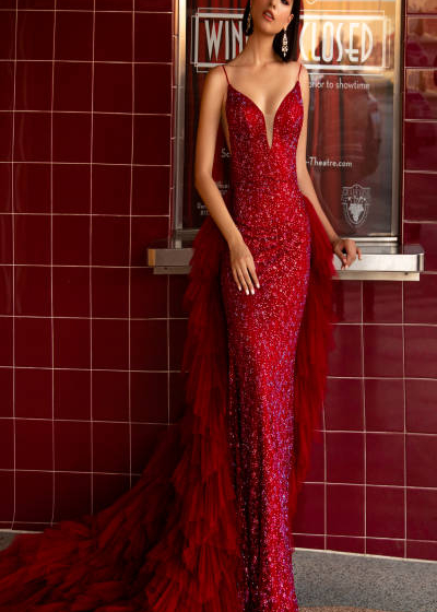 Vienna Gown in red fully beaded sheath